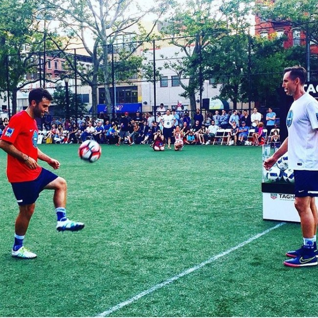 Giuseppe Rossi and Steve Nash juggle for charity in the TAG Heuer Don't Crack Under Pressure Challenge - June 22, 2016